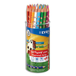 Pot de 48 crayons de couleurs ergonomiques triangulaires Lyra Groove Slim, couleurs assorties (photo)