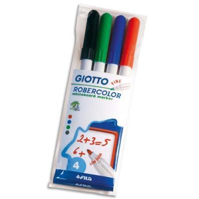Pochette de 4 feutres effaçable à sec pointe ogive fine 2,7mm bleu, noir, rouge, vert