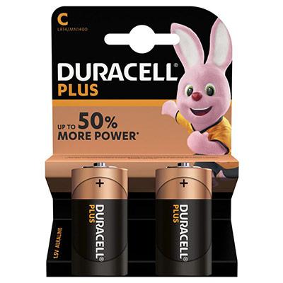 Pile Duracell C LR14 Plus Power alcalines - 1,5V - blister de 2 piles (photo)