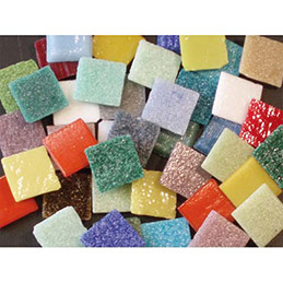 Sac 1kg mosaïque en verre carrée couleurs assorties (photo)