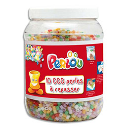 Bocal de 10 000 perles à repasser assorties Perlou (photo)