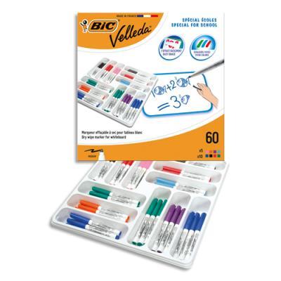 Classpack Bic 60 feutres effaçables à sec, pointe ogive moyenne, assortis. (photo)