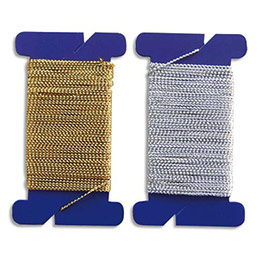 Lot de 2 bobines de 10 m de fil pailleté or et argent permettant de suspendre des objets des décorations