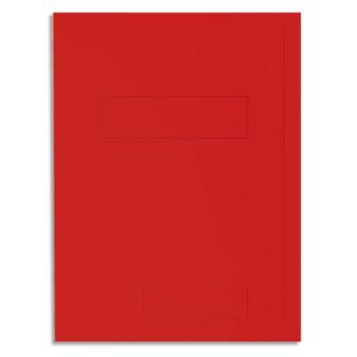 Chemise 2 rabats avec cadre d'indexage Exacompta Super 250 - carte 210 g - rouge - paquet de 50 (photo)