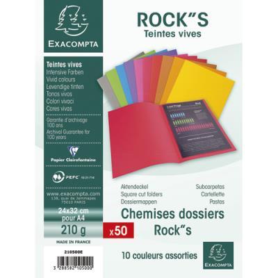 Chemise Exacompta Rock's - coloris assortis - format 24 x 32 cm - 210 g - paquet de 10