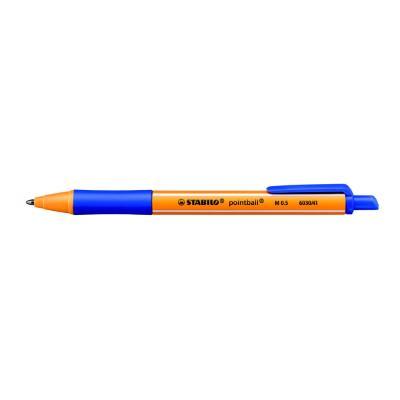Stylo bille rétractable Pointball Stabilo - avec zone de préhension - pointe moyenne - corps en plastique bleu/jaune - encre bleue