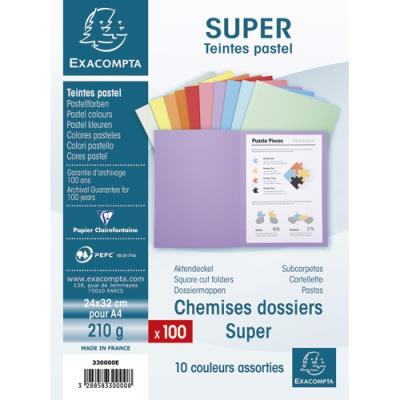 Chemise Exacompta Super 250 - carte 210 g - coloris assortis - 24 x 32 cm - paquet de 100