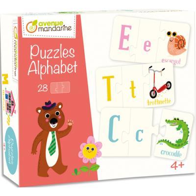 Boîte puzzle thème alphabet 28 puzzles de 3 pièces 11 x 6 cm, bords arrondis (photo)