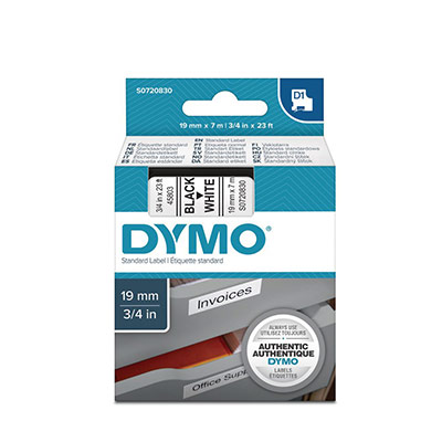 Ruban Dymo D1 - 45803 - Ruban noir/blanc - 19 mm x 7 m