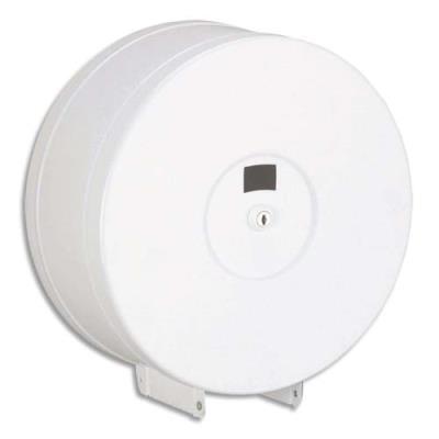Distributeur de papier hygiénique ROSSIGNOL Jumbo Maxi - en métal blanc époxy - D29 cm - P11,8 cm (photo)