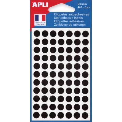 Pastilles adhésives de couleur Agipa Ø 8 mm - pochette de 462 - coloris noir