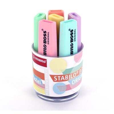 Surligneurs Stabilo Boss - pointe biseautée - pot de 6 : coloris pastel jaune,vert,orange,violet,rose,turquoise