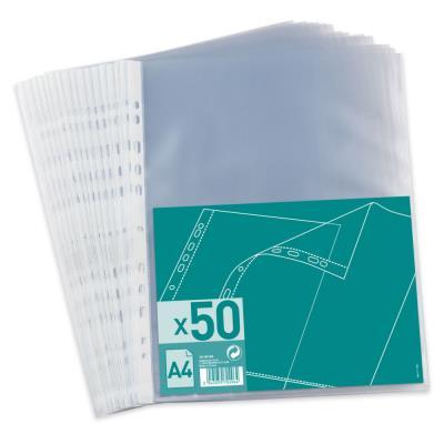 Pochettes perforées polypropylène 4/100e - A4 perforées 11 trous - capacté 20 feuilles - incolore - paquet 50 unités