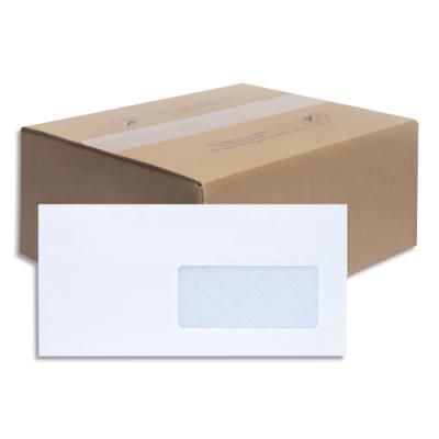 Enveloppes 110x220 La Couronne - NF - fenetre 45x100 - vélin blanc - 80g - auto-adhésive - boîte de 500 (photo)