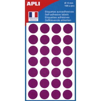 Pastilles adhésives de couleur Agipa Ø 15 mm - pochette de 168 - coloris violet