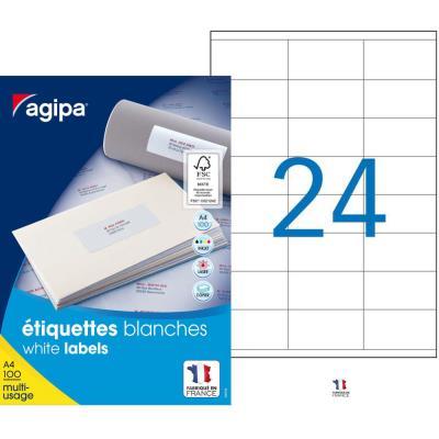 Étiquettes adhésives blanches multi-usages Agipa - 70  x 36 mm -  2400 Étiquettes par boîte - 24 Étiquettes par feuille - boîte 2400 unités (photo)