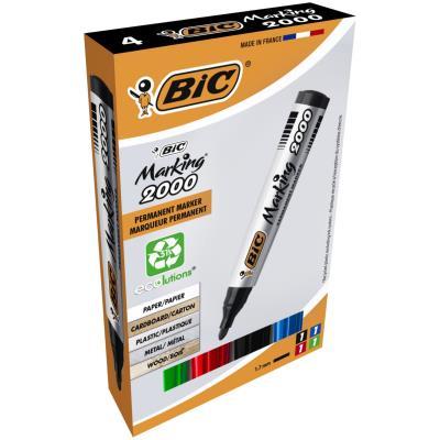 Bic Marking 2000 - marqueur permanent pointe ogive - pochette de 4 - bleu, noir, rouge, vert