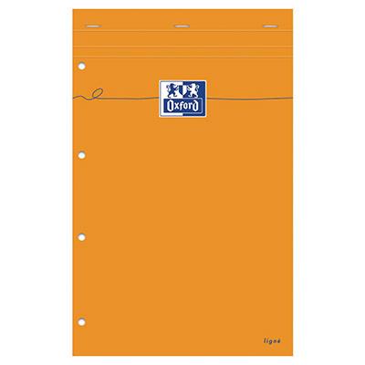 Bloc de bureau agrafé Oxford 80 feuilles A4 maxi - 24 x 32 cm - perforées 4 trous 80 g ligné jaune - couverture orange (photo)