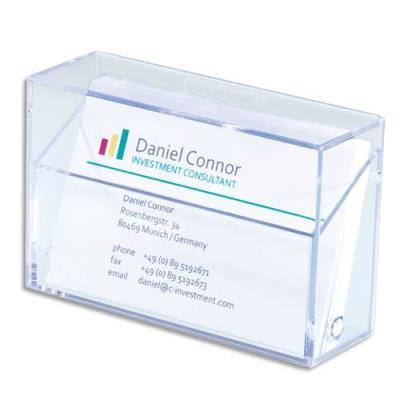 Boîte pour cartes de visite plastique rigide SIGEL - capacité 100 cartes - 9,5 x 6 x 3 cm - transparent (photo)