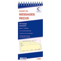 Carnet de message reçus - 160 messages - autocopiant non repositionnable - format 14 x 29.7 cm