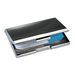 Etui à cartes de visite SIGEL - chrome brillant - capacité 20 cartes - L9,5 x H6,2 x P0,7 cm - argent - brillant (photo)