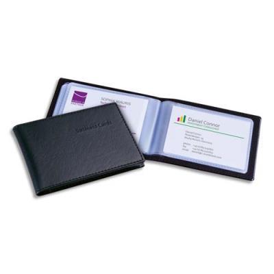Porte-cartes SIGEL aspect cuir mat avec 20 pochettes - capacité 40 cartes - L105 x H127 x P14 cm noir - mat