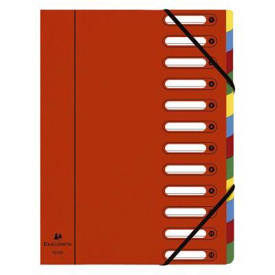 Trieur Exacompta Harmonika Nature Future avec dos extensible à soufflet et fenêtres prédécoupées 600 feuilles A4 12 compartiments 24 x 32 cm - carton rouge