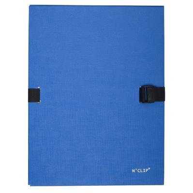Chemise extensible 51215 de Claircell - dos 10 cm - recouverte de papier grainé vernis - coloris bleu
