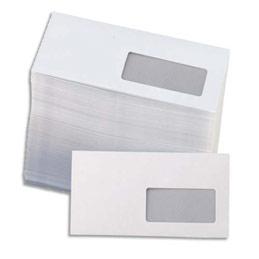 Enveloppes Unipapel pour mise sous pli automatique - 80 g - 115 x 225 mm - fenêtre 35 x 100 mm - vélin blanc - boîte de 1000 (photo)