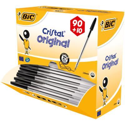 Pack 90 stylos bille Bic Cristal noir + 10 offerts - pointe moyenne (photo)