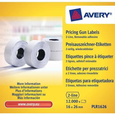 Boîte de 10 rouleaux de 1200 étiquettes Avery PLR1626 pour pince à étiquetter - 2 lignes (10+ 8 caractères) - blanches - adhésif amovible