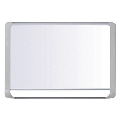 Tableau blanc magnétique Bi-Office MasterVision - émaillé - surface brillante blanche - cadre gris clair - 1800 x 1200 mm