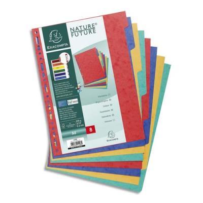 Intercalaires touches neutres Exacompta - carte 225 g - A4 - 8 positions - coloris assortis