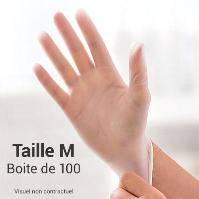 Gants en vinyle non poudrés - transparent - taille M - Boite de 100