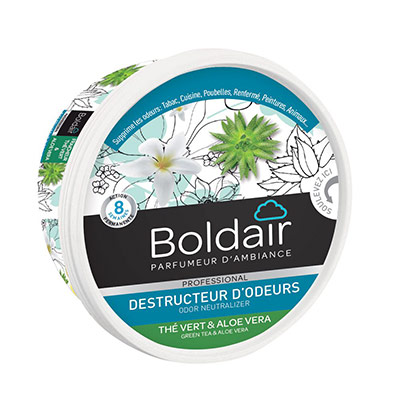 Gel désodorisant destructeur d'odeur Boldair - parfum thé vert - 300g