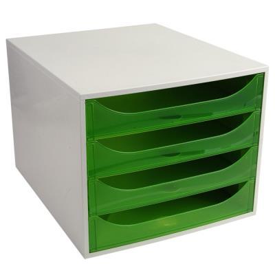 Module de classement Exacompta éco - 4 tiroirs - gris vert translucide