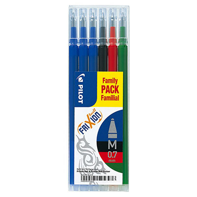 Recharge pour stylo Pilot FriXion à encre gel - pointe moyenne de 0,7 mm - coloris assortis : 3 stylos bleu - 1 noir - 1 rouge et 1 vert - paquet 6 unités