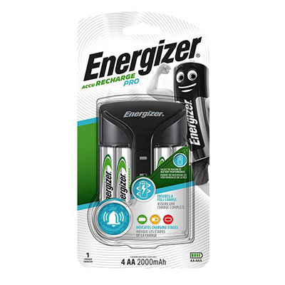 Chargeur Pro Energizer pour piles AA et AAA + 4 piles AA 2 000 mAh