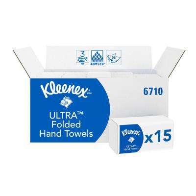 Essuie-mains plié Kleenex 6710 Ultra - triple épaisseur - paquet de 96 feuilles - blanc - boîte 15 pochettes