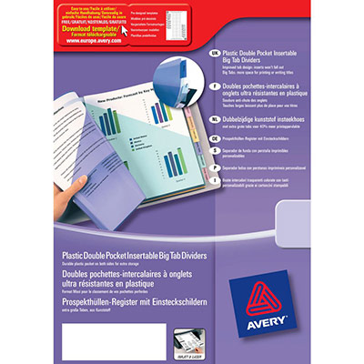 Double pochette intercalaires Avery - polypropylène - onglets personnalisables - format A4+ - Jeu de 12