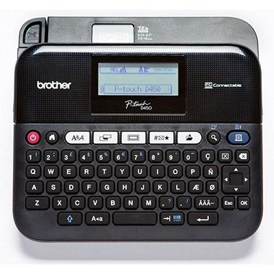 Étiqueteuse Brother PT-D450 - clavier QWERTY - écran LCD 180 ppp - 4 tailles d'étiquette - 14 polices - vitesse d'impression de 20 mm/s (photo)
