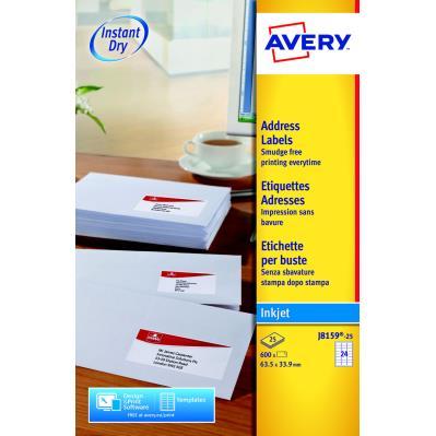 Etiquettes jet d'encre Avery J8159 - 25 planches - 63,5 x 33,9 mm - blanc - boîte de 600