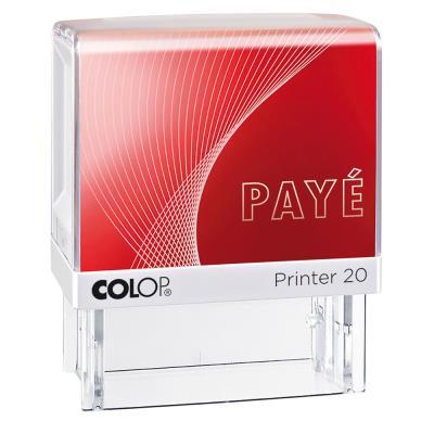 Tampon à formule Colop : PAYE - encrage automatique - empreinte rouge 38 x 14 mm