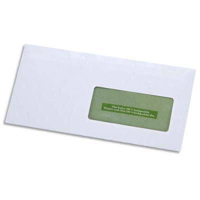 Enveloppes 100% recyclées 110 x 220 GPV Erapure - blanches - fenêtre 45x100 - auto-adhésive - 80 g - boite de 500 (photo)
