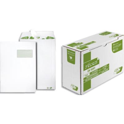 Boite de 250 pochettes recyclées extra blanches GPV Erapure - format C4 229 x 324 mm - fenetre 50x100mm - 90 g (photo)