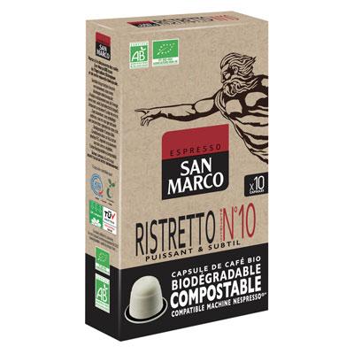Capsule café bio San Marco - pour machine Nespresso - ristretto intensité n°10 - paquet 10 capsules