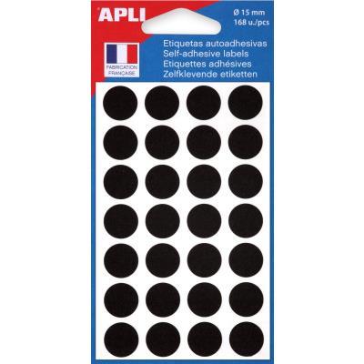 Pastilles adhésives de couleur Agipa - Ø 15 mm - pochette de 168 - coloris noir