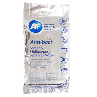 Lingettes de nettoyage pour écrans et multi-surfaces Af Cleaning - antibactériennes  - paquet de 25 (photo)
