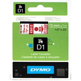 Ruban Dymo D1 - 45012 - Ruban rouge/transparent - 12 mm x 7 m