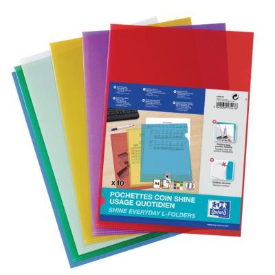 Pochettes coin Elba - PP lisse 12/100e - coloris assortis - sachet de 10